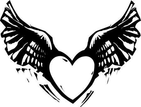 heart with wings: Black and White Woodcut style image of a heart with wings