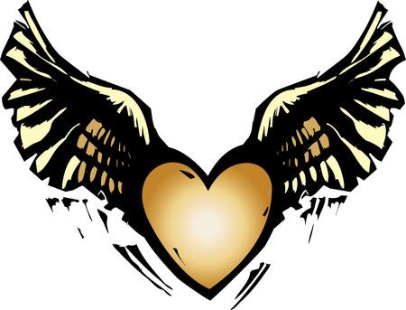 날개를 가진 마음의 목 판화 스타일 이미지