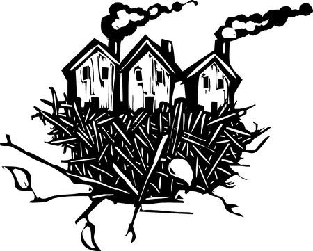 Houtsnede stijl van een aantal huizen zitten in een vogelnest Stock Illustratie