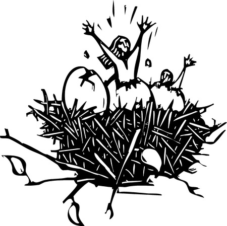 Woodcut style image of a woman breaking out of an eggshell  Ilustração