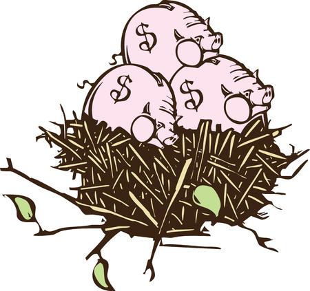 Afbeelding houtsnede stijl van een nest met spaarpotten in plaats van eieren Stock Illustratie