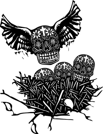 angel cemetery: Woodcut style image of Mexican skulls with wings in a birds nest