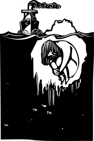 Woodcut style image of a steam ship approaching an iceberg with a man frozen inside. Ilustração