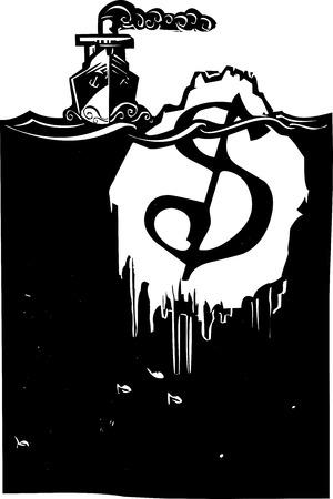 Houtsnede stijl beeld van een stoom-schip nadert een ijsberg met een dollar teken op het. Stock Illustratie
