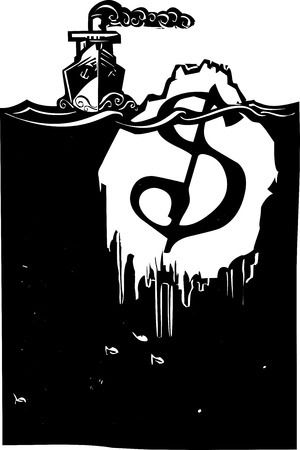 stockmarket: Woodcut style image of a steam ship approaching an iceberg with a dollar sign on it.