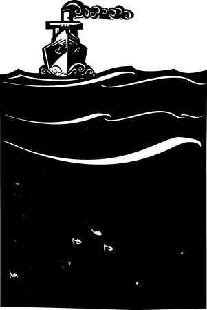 Woodcut style image of a art deco steam ship on the ocean. Иллюстрация