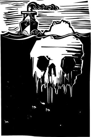 Afbeelding houtsnede stijl van een stoom schip nadert een ijsberg in de vorm van een schedel.