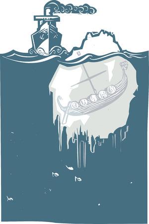 Afbeelding houtsnede stijl van een stoom schip nadert een ijsberg met een vikingschip van binnen bevroren.