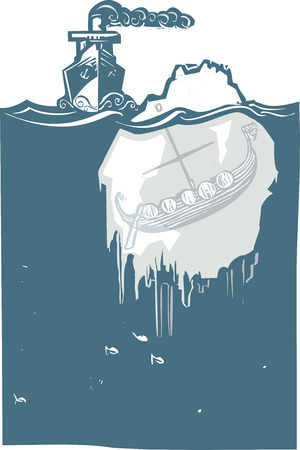 Woodcut style image of a steam ship approaching an iceberg with a viking Longship frozen inside. Vector