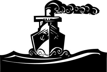 Houtsnede stijl afbeelding van een art deco stoom schip op de oceaan.