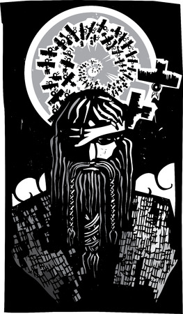 asgard: Woodcut style image of the Viking God Odin with Spiral Crows
