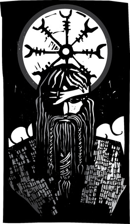 odin: Woodcut style image of the Viking God Odin with wheel design Illustration