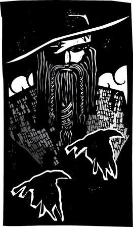 asgard: Woodcut style image of the Viking God Odin with two ravens Illustration