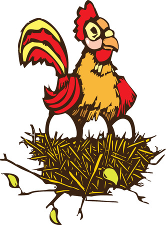 Woodcut style image of a nest full of eggs and a roosting chicken. Stock Vector - 27462181