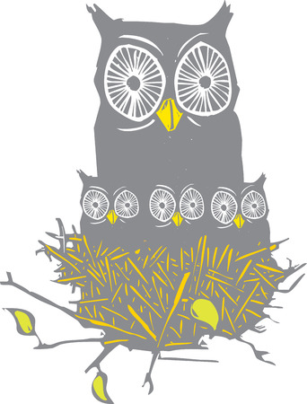 Woodcut style image of a nest full of baby owls and mother owl. Ilustracja