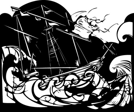 Woodcut style image of a sailing ship in stormy seas. Ilustracja