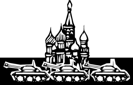 cold war: Woodcut style image of Russian tanks rolling in front of the Kremlin in Red Square Illustration