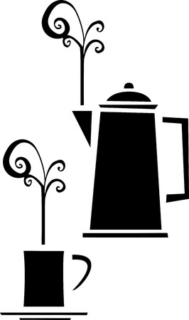 Black and white retro image of a coffee pot and mug Reklamní fotografie - 27712851
