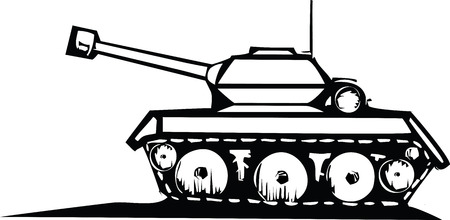 threat: Woodcut style image of a military tank.