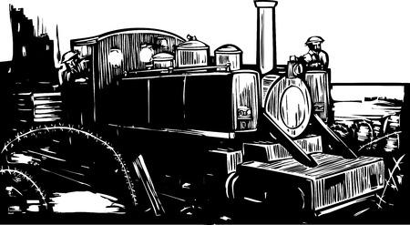 Woodcut style World War one style light rail locomotive train on the battlefield.