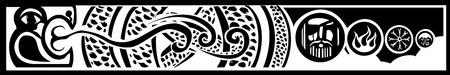 Afbeelding van de Viking Pagan Midgard slang met beelden van Odin en de Noorse ontwerpen. Stockfoto - 27710222