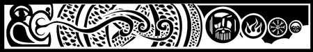 iceland: Image of the Viking Pagan Midgard serpent with images of Odin and Norse designs.
