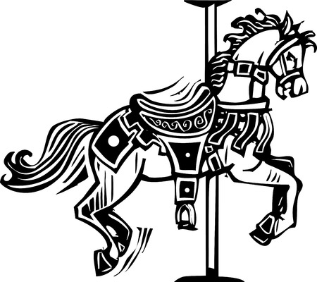 carousel: Woodcut style image of a wooden carousel horse Illustration