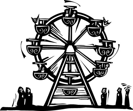 expressionist: Woodcut style expressionist image of a circus Ferris wheel.