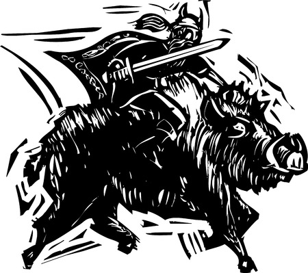 Woodcut style image of the Norse God Frey or Freyr rides on the back of dwarf made boar Gullinbursti. Illustration