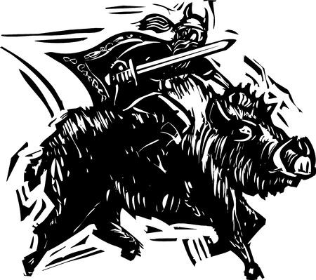asgard: Woodcut style image of the Norse God Frey or Freyr rides on the back of dwarf made boar Gullinbursti. Illustration
