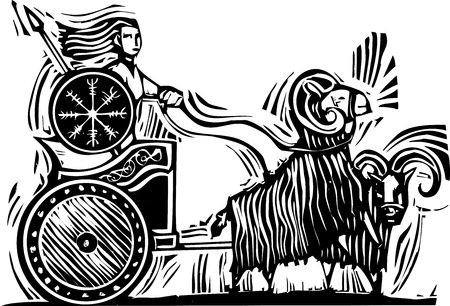 Woodcut Style image of the Norse Goddess Frigg or Frigga riding in a chariot pulled by goats.