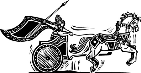 Woodcut style image of a Norse viking Valkyrie riding a chariot. Vector