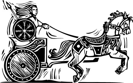 Woodcut style image of the Celtic heroine Brigid riding a chariot. Illustration