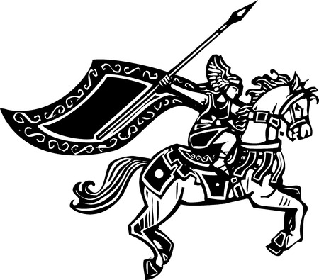 Woodcut style image of a Norse viking Valkyrie riding a horse. Illustration