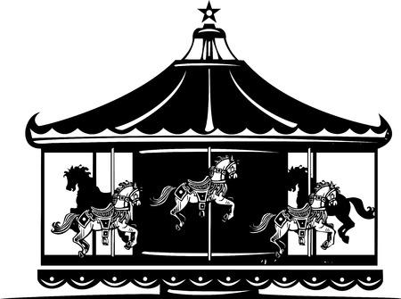Woodcut style image of a fair carousel