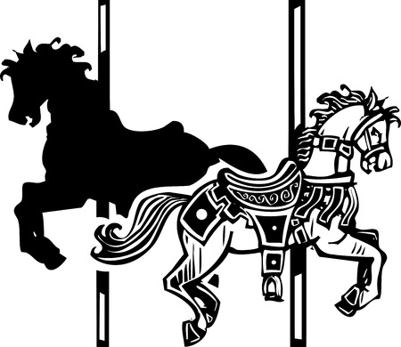 Woodcut style image of a wooden carousel horse in two directions