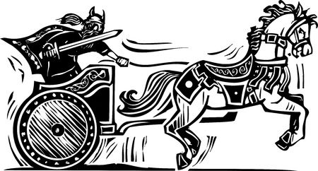 Woodcut style image of a Viking riding a chariot. Vector