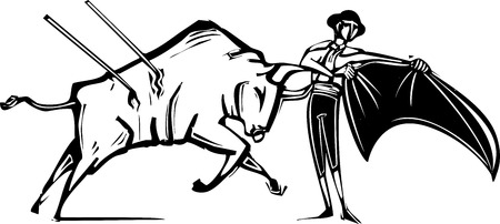 corrida de toros: Imagen de estilo de grabado de un torero y un toro herido en una corrida de toros