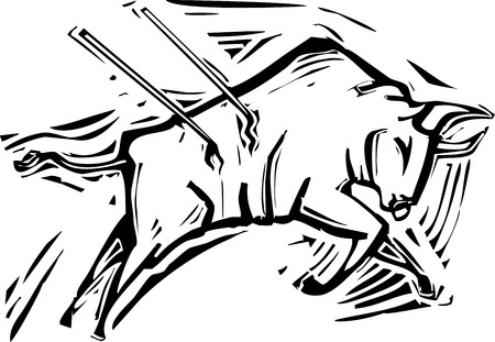 Woodcut style image of a charging bull in a bullfight  Illustration