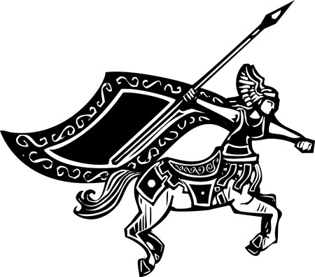 Woodcut style image of a female centaur with a spear  Illustration