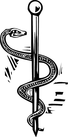 Woodcut image of the Rod of Aesculapius serpent-entwined rod wielded by the Greek god Aesculapius, a deity associated with healing and medicine.