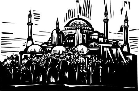 그리스 정교회의 목 판화 스타일 이미지는 터키 이스탄불에 모스크를 돌았 다.