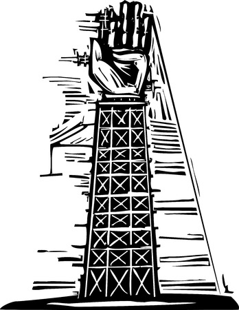 constructed: Woodcut image of a tower where a giant arm and hand are being constructed.