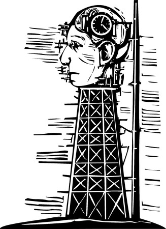 Woodcut image of a tower where a giant head with a time bomb in its brain is being constructed.