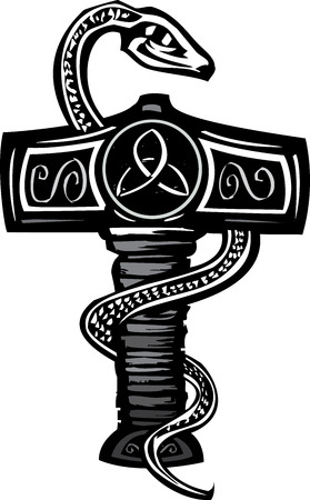 Woodcut image of the Norse god Thors Hammer entwined with a serpent.