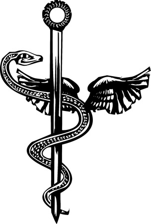 Woodcut image of the Mayan plumed serpent god god Kukulcan entwined around the medical symbol of the Rod of Aesculapius.