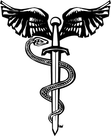 aesculapius: Woodcut variant image of the Rod of Aesculapius with a snake entwined sword.