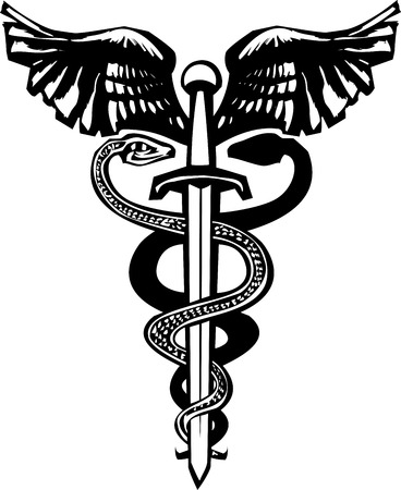 entwined: Woodcut variant image of the Caduceus with the snake entwined around a sword.