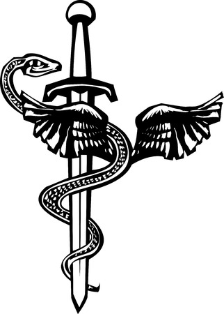 Woodcut image of the Mayan plumed serpent god Kukulcan entwined around a sword. Illustration