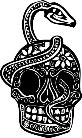 dead animal: Woodcut style image of a day of the dead Skull wrapped in a serpent. Illustration